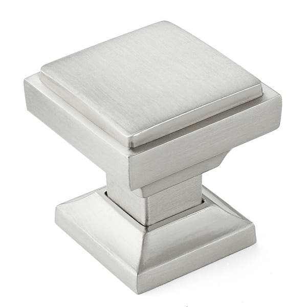 Solid Square 1 1 8 Satin Nickel Kitchen Cabinet Knobs Overstock 31114074