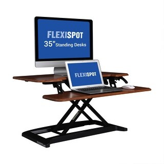 "FlexiSpot M7MN Stand Up desk Converter -35"" Standing desk Riser with Deep Keyboard Tray for laptop (35"", Mahogany)"