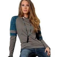 Cruel Girl Western Shirt Womens L/S Tee Raglan Charcoal