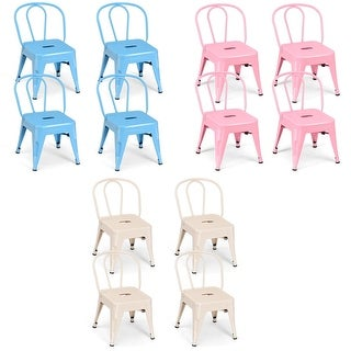 Costway Set of 4 Kids Stool Metal Chair Stackable Toddlers Children Lightweight