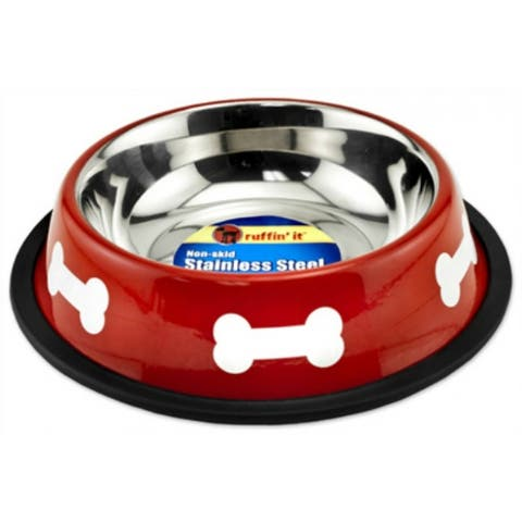 Ruffin' It 19216 Stainless Steel Fashion Bowl, 16 Oz, Red with White Bones