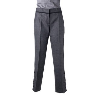 Prada Womens Grey Wool Blend Lined Ankle Button Black Trim Trousers