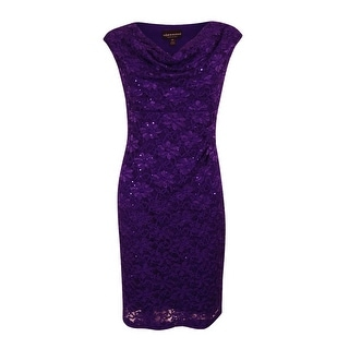 Connected Apparel Women's  Petite Sleeveless Sequined Lace Dress