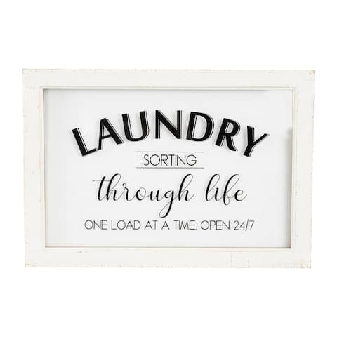 """Laundry Sorting Through Life One Load at a Time"" Wood & Glass Wall Decor"
