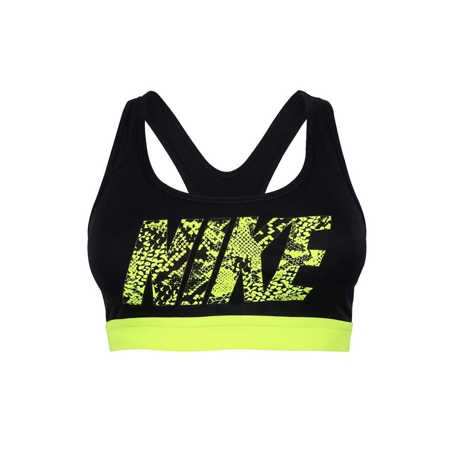 Shop Nike Women S Pro Dri Fit Brand Sports Bra Black Yellow Xs Overstock 16805452