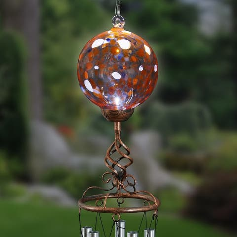 Exhart Solar Glass Ball Wind Chime with Metal Finial, 5 by 46 Inches