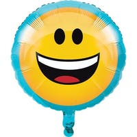 "Club Pack of 10 Yellow and Blue ""Show Your Emojis"" Metallic Balloon 8.0"" - Black"