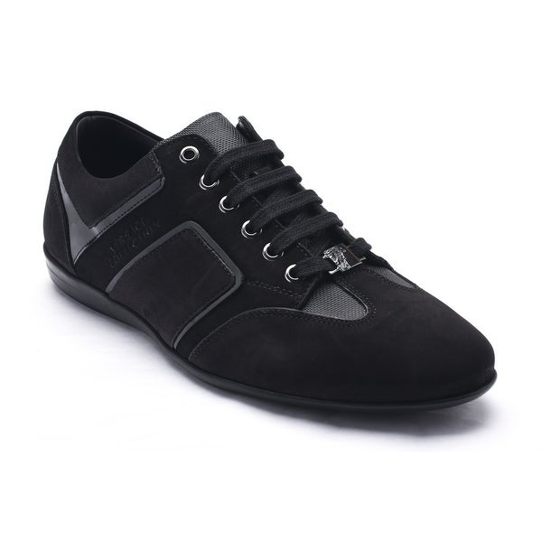 Versace Collection Men's Suede VC Logo Low Top Sneaker Shoes Black