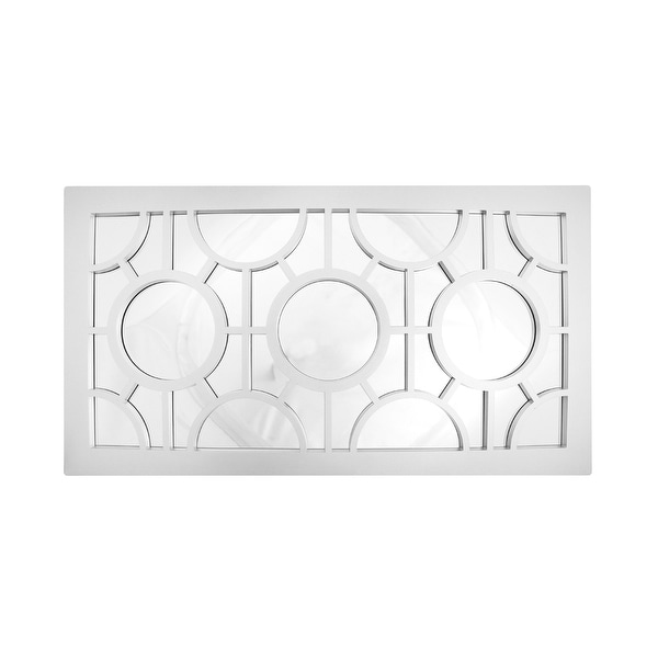 "25.5"" Pure White Geometrical Circles Decorative Rectangular Wall Mirror"