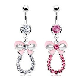 Surgical Steel Navel Belly Button Ring with Bow Tie Multi Paved Gem Drape Loop Dangle (Sold Ind.)