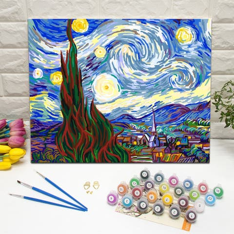 Van Gogh. Starry Night Paint-by-Number Kit for Kids & Adults