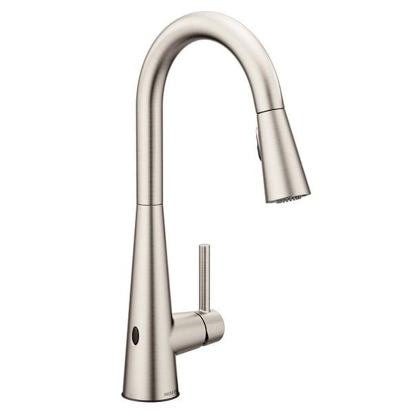 Moen Motionsense Kitchen Faucet: Shop Moen 7864EW Sleek Pull-Down High Arc Kitchen Faucet W