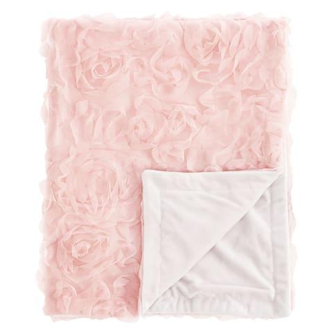 Pink Floral Rose Girl Baby Receiving Security Swaddle Blanket - Blush Flower Luxurious Elegant Princess Vintage Boho Shabby Chic