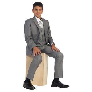 Boys Steel Gray Vest Pants Jacket Necktie White Shirt 5 Pcs Suit Set 8-18