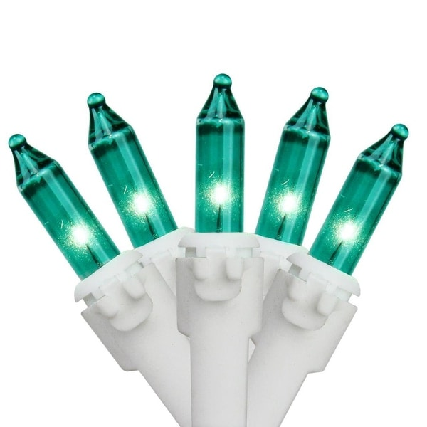"""Set of 50 Teal Mini Christmas Lights 6"""" Spacing - White Wire"""