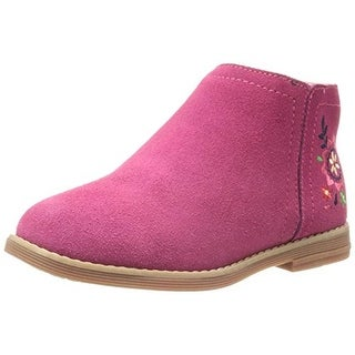 Hanna Andersson Girls Lisa Ankle Boots Suede Embroidered - 2 medium (b,m)