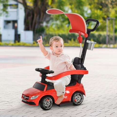 Aosom 3 in 1 Ride on Push Car Mercedes Benz for Toddlers Stroller Sliding Walking Car with Canopy for 1-3 Years