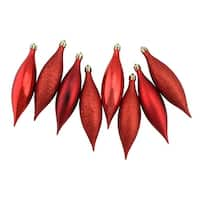 8ct Red Hot Shatterproof 4-Finish Finial Drop Christmas Ornaments 5.5""