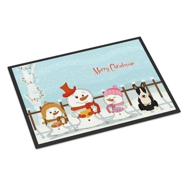 Carolines Treasures BB2464MAT Merry Christmas Carolers Bull Terrier Black White Indoor or Outdoor Mat 18 x 0.25 x 27 in.