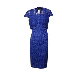 Alex Evenings Women's Cap Sleeve Bolero Jacket and Dress - electric/blue (2 options available)