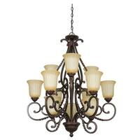 "Sunset Lighting F5299 Graham 12 Light 720 Watt 31.75"" Width Chandelier - Brown"