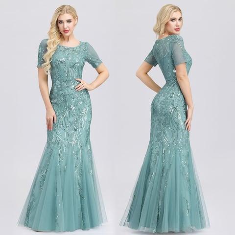 Ever-Pretty Womens Elegant Short Sleeve Mermaid Evening Prom Dresses for Women 07705