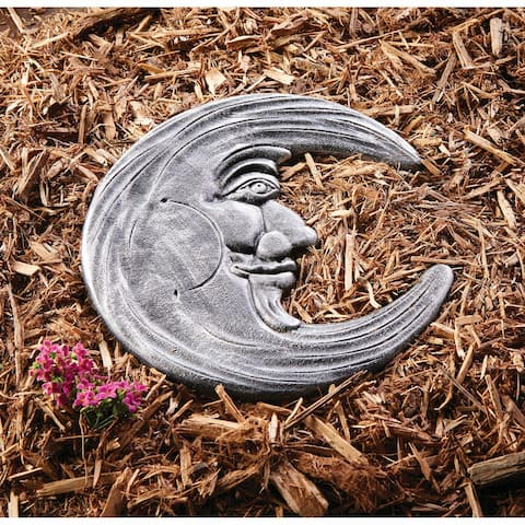 Art & Artifact Celestial Stepping Stone - Cast Iron Man in the Moon Garden Decor Yard Art - Gray - 12 Inch