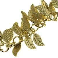 Antiqued Brass 7mm Leaf Charm Chain - Bulk By The Inch