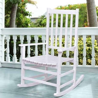 Costway Solid Wood Rocking Chair Rocker Porch Indoor Outdoor Patio  Furniture White