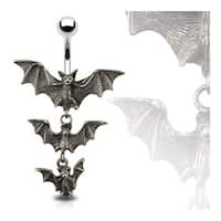 "Gothic Tri-Vampire Bats Dangle Navel Belly Button Ring - 14GA 3/8"" Long"