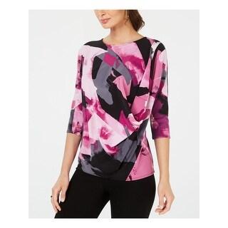 ALFANI Womens Purple Printed 3/4 Sleeve Jewel Neck Top  Size M