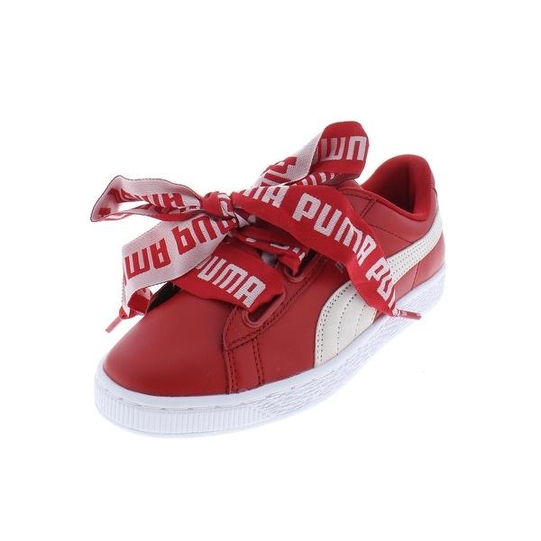 Shop Puma Womens Basket Heart DE Casual Shoes Leather Skate - Free ... 86a66865ba15
