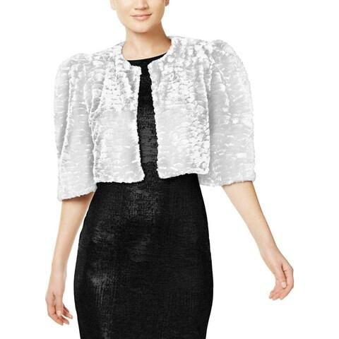 Calvin Klein White Women's Size Medium M Faux-Fur Shrug Jacket