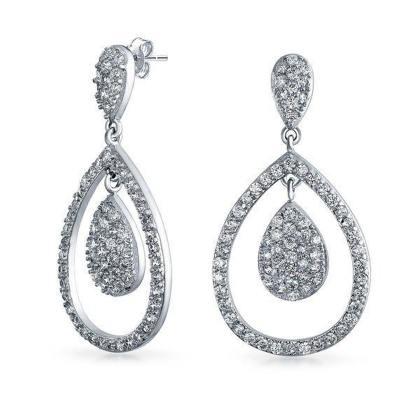 86b1fe761 Shop Cubic Zirconia CZ Micro Pave Open Teardrop Prom Pageant Statement  Dangle Drop Earrings For Women Silver Plated Brass - On Sale - Free  Shipping On ...