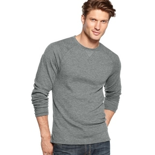 Club Room Big and Tall Long Sleeve Thermal Crewneck Shirt Light Grey 2XB Big