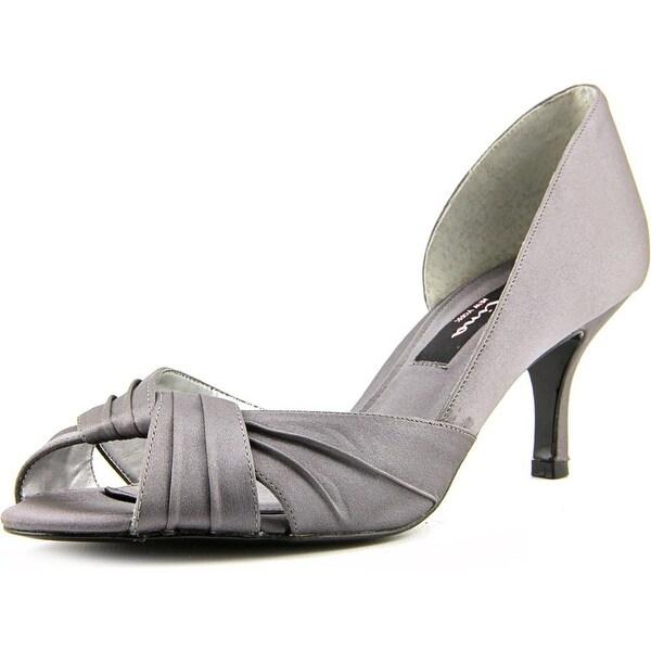 Nina Culver Women Peep-Toe Canvas Gray Heels