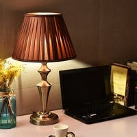 Costway 13'' Antique Brass Bedside Table Lamp w/ LED Bulb Champagne Office  Light