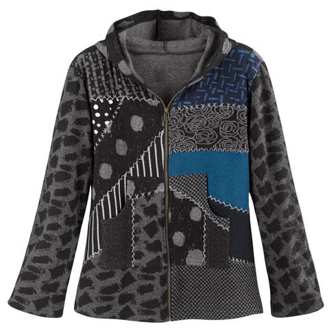 Avani Del Amour Women's Patchwork Mixed Prints Hoodie -Gray Zip-Up Hooded Jacket