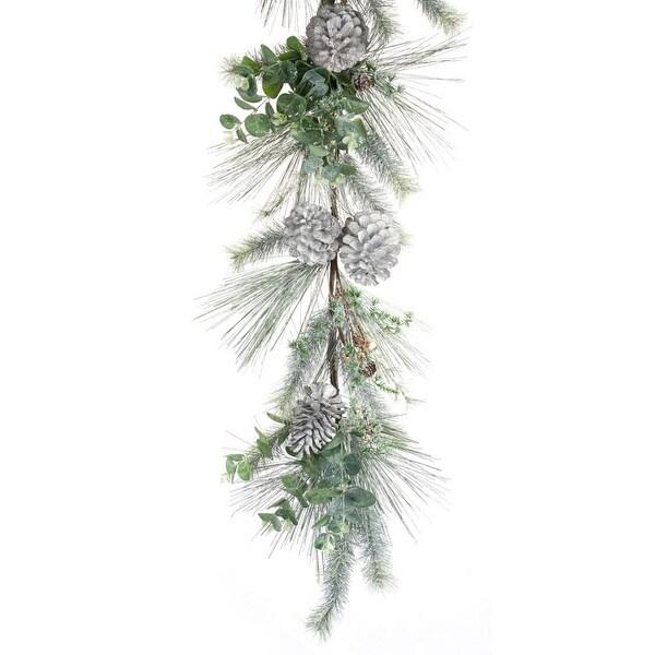 Set Of 2 Pine And Eucalyptus Floral Decorative Artificial Christmas Garland 5 Brown