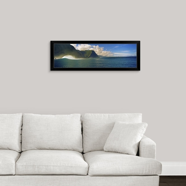 """""""Rolling waves with mountains in the background, Molokai, Hawaii"""" Black Framed Print"""