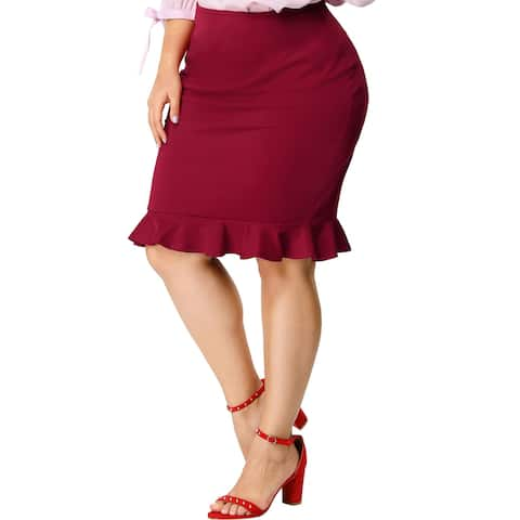 Women's Plus Size Ruffle Hem Zip Closure Mini Pencil Skirt - Red