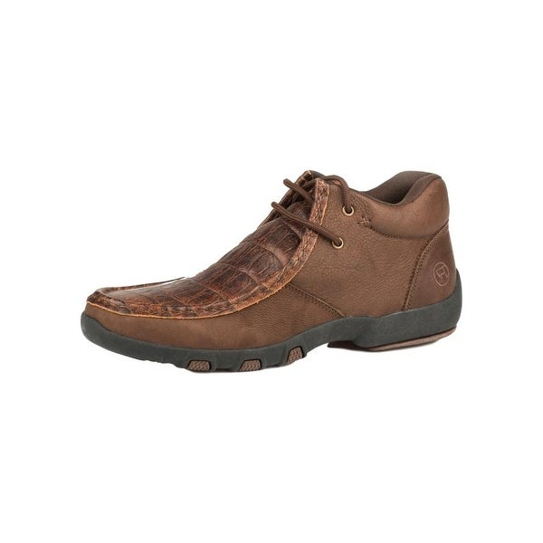 Roper Western Shoes Mens Driving Moc Gator Brown