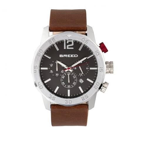 Breed Manuel Men's Quartz Chronograph Watch, Genuine Leather Band, Luminous Hands