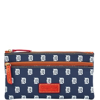 Dooney & Bourke MLB Tigers Double Zip Flat Pouch (Introduced by Dooney & Bourke at $85 in Oct 2015) - Navy