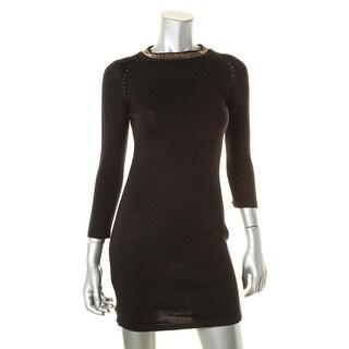 Calvin Klein Womens Petites Chain Trim Knit Sweaterdress