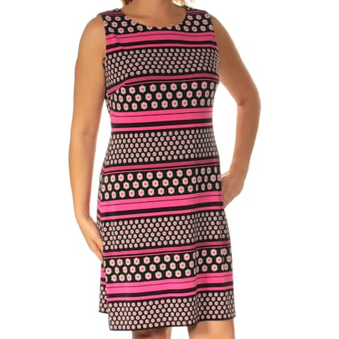 6cb8e343f61 TOMMY HILFIGER Womens Pink Striped Sleeveless Jewel Neck Above The Knee Fit  + Flare Dress Size