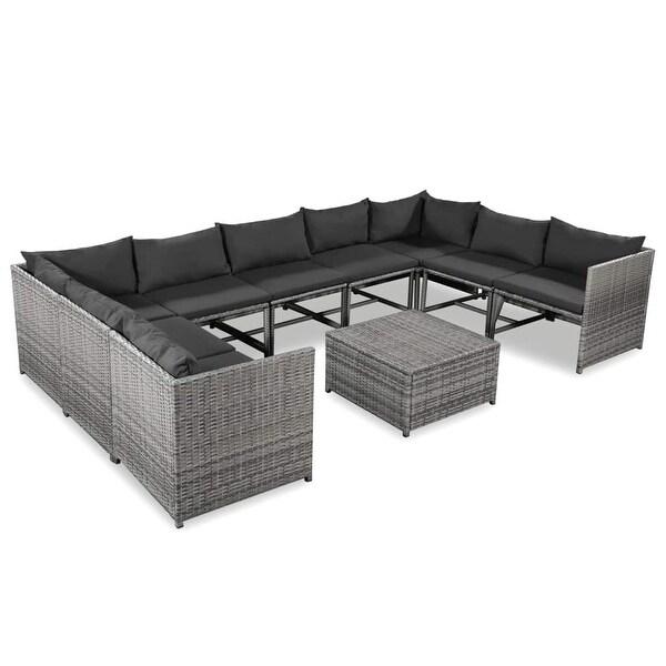 "vidaXL 10 Piece Garden Lounge Set with Cushions Poly Rattan Gray - 23.6""x 23.6"" x 23.6"""