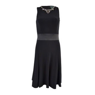 Lauren Ralph Lauren Women's Matte Jersey Embellished Neckline Dress - Black