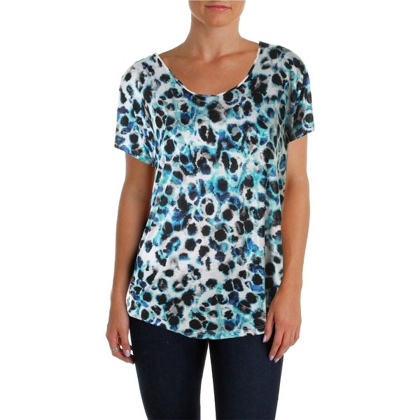 Kensie Womens Casual Top Printed Hi-Low