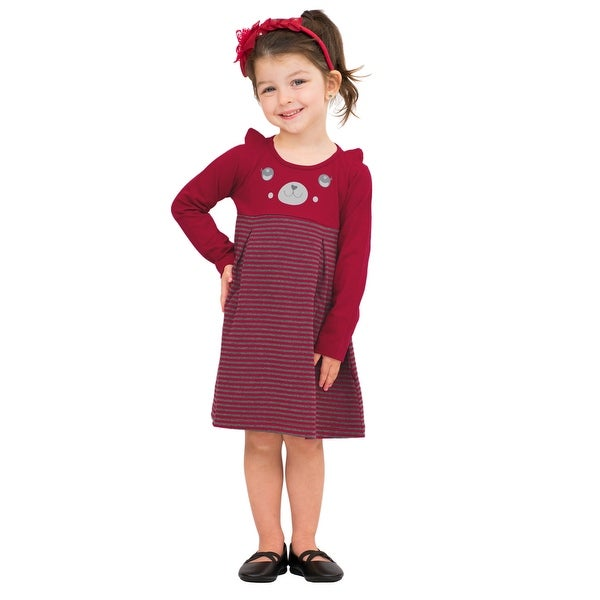 Pulla Bulla Toddler Girl Long Sleeve Bear Striped Dress